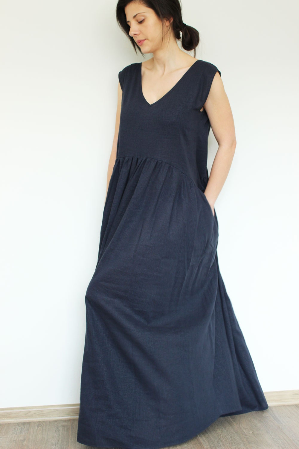 Linen Dress Blue Linen Dress Summer Linen Dress By