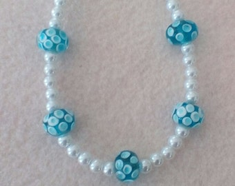 Pearls with a Touch of Blue Necklace