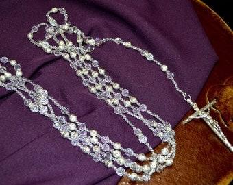 "38"" Silver Metal Ball Wedding Lasso Rosary - Crystal Wedding Lazo Rosary - Lazo de Boda"