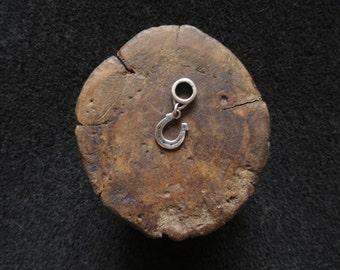 Silver horseshoe lucky charm, handmade unique fine silver charm pendant