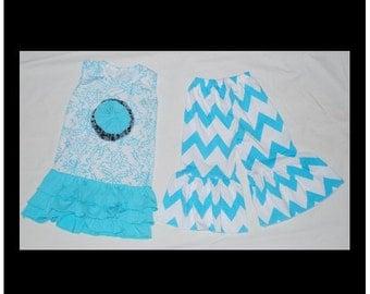 Girl toddler blue damask chevron ruffle flower outfit shirt pant set