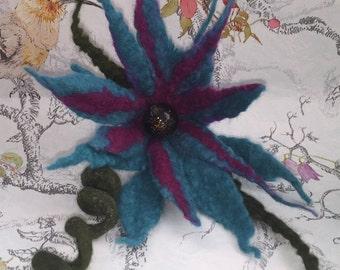 Felted Floral Brooch