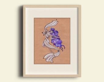 Stars and Sword: Digital print, original drawing, fantasy fairy, galaxy