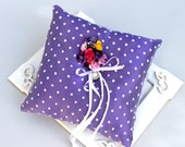 Ring Bearer Pillow, purple, polka dot, colorful flower, summer, wedding, bride, pink yellow, white ribbon, flower lace, white tulle pillow