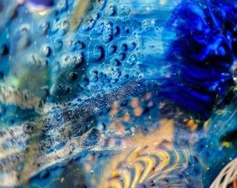 Abstract Fine Art Photography Print, Blue Glass, Home Decor, Wall Art