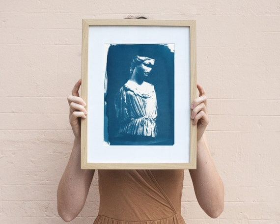 Roman Female Bust Sculpture, Cyanotype Print on Watercolor Paper, A4 size