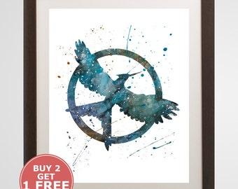 Mockingjay Logo, The Hunger Games watercolor, home arts, decor, cartoon kids children Illustration, Gift, Movie YC162