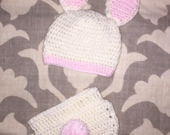 Bunny hat and diaper set
