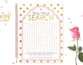 Word Search Baby Shower Games, Baby Shower Game, Printable, Shower Games, Instant Download, Baby Shower Girl Game, Pink and Gold