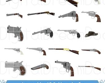 Gun Clipart, Gunslinger Clip Art, Gunfighter Clipart, Shot Gun Image, Shotgun Graphic, Revolver Picture, Pistol Scrapbook, Digital Download