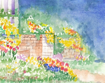 Summer terrace original watercolor
