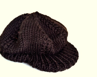 Vintage chuncky knitted beret hat with visor Gatsby hat brown womens hat mens unisex hat