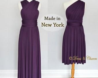 Dark Purple Bridesmaid Dresses, gown convertible dress, infinity dress, maternity dress, bridesmaid gown, party dress, Wedding Dress