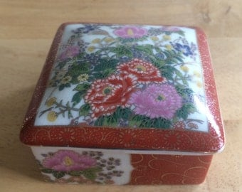 Hand-Painted, Japanese Flowers Porcelain Trinket Box; Small Porcelain Box Made in Japan; Porcelain Ring Box with Hand-Painted Flower Design