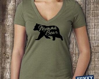 Momma Bear Deep V Neck  Women's - FREE SHIPPING -  Deep V Neck T Shirt Ladies