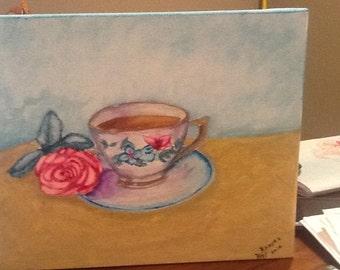 Tea cup original painting ,watercolor