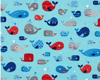 Nautical Flannel Fabric, Fabric By The Yard, Fabric BTY,  Whale fabric, Flannel Fabric, Quilting Fabric, Baby Flannel Fabric, Nursery Fabric