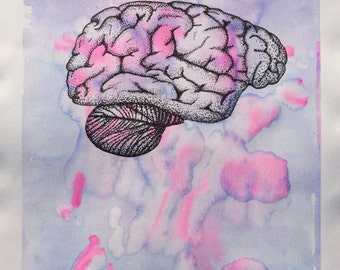 Print of Ink and Watercolor Brain
