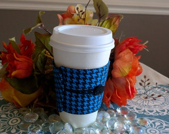Coffee sleeve / cozies/cozy - Blue Houndstooth design - Reusable and Eco friendly