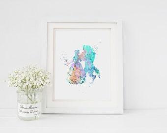 PRINTABLE Art Beauty and the Beast Disney Princess Silhouette Download Print Watercolor Paint Nursery Decor Fairy Tale Wall Art 8x10
