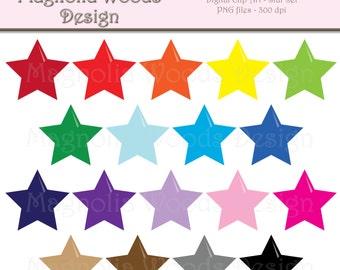 Star Clip Art, Stars Clip Art, Rainbow Star Clip Art, Star PNG, Digital Stars, Small Commercial Clip Art, Shapes Clip Art