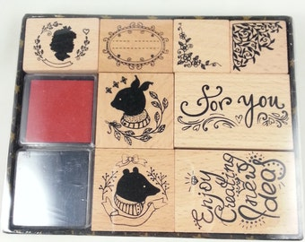 Wood stamp set stamps, tendrils, bear, ornaments, embellishments for scrapbooking, card making