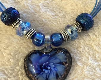 Blue Glass Heart Pendant Necklace