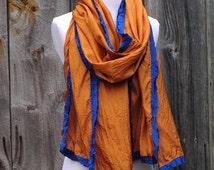 Hand Dyed Silk Scarf | Hazelnut Brown Silk Wrap | Boho Scarf | Long Scarf | Silk Scarf | Gold Silk | Two Toned Scarf | Large Scarf