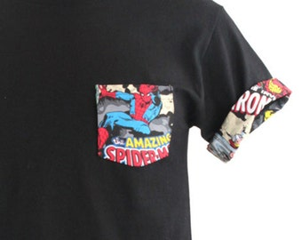 Marvel Shirt, Spiderman Shirt, Spiderman Pocket Roll-up T-Shirt, Avengers T-shirt, Super Hero T-shirt, Spiderman Pocket Shirt