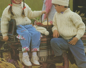Childrens Aran Jacket, Cardigan and Bobble Hat Knitting Pattern . Boy or Girl 24, 26, 28, 30, 32 and 34 inch chest . Digital Download