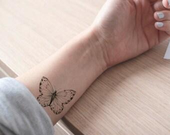 butterfly tattoo / fake tattoo / black and white butterflies tattoo / girly tattoo / big tattoo / girl temporary tattoo by temp tat