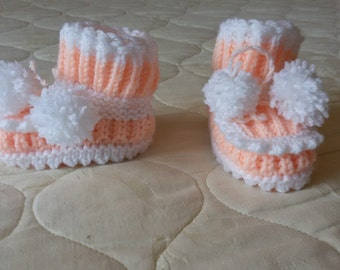 Hand Knitted baby booties, boots, socks, shoes, baby gift, baby accessories, baby slippers, children knits, warm, soft, winter, autumn,
