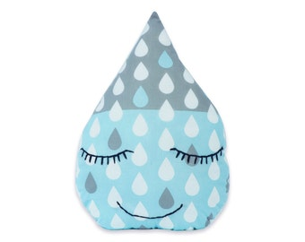 Raindrop Pillow ( Raindrop Cushion, Rain Drop Pillow, Decorative Pillow, Raindrop shaped, Happy face pillow, Shower gift, Nursery Decor)