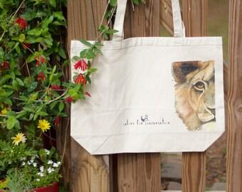 Colors for Conservation Lion Canvas Tote