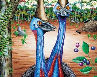 Lithograph Print, art print, fine art, cassowaries, Australian painting, original paintings, archival paper, acid free, original artwork