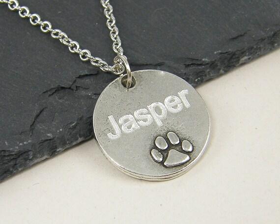 custom name necklace engraved paw print pendant