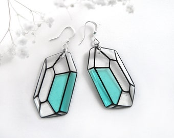 Aquamarine earrings Geometric jewelry Mint earrings Crystal earrings Polygon jewelry Modern jewelry for women Gift for wife gift for sister