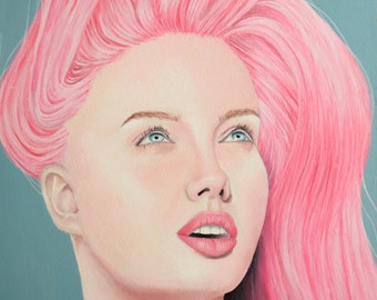 Girl with pink hair, acrylic painting on masonite
