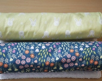 Baby burp cloths - set of 2 - spring flowers & bunnies - 100% cotton / terry cloth