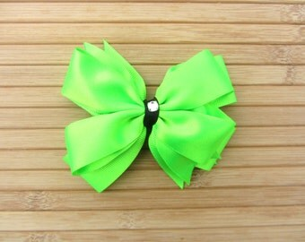 Neon Green Double Pinwheel Dance Hair Bow