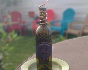 Personalized Wine Bottle Bird Feeder