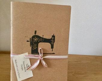 Vintage Sewing Machine Handprinted Notebook
