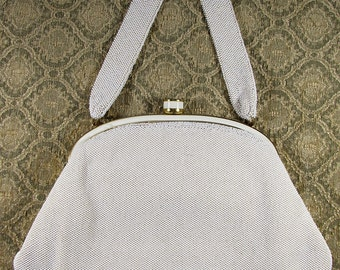Vintage 1950's French Beaded Handbag, Small White Beaded Purse