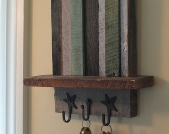 Key hanger and shelf of reclaimed wood in green, grey, teal, and ebony