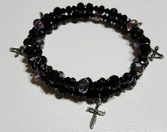 Black and purple bead memory wire bracelet