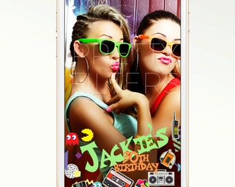 DIY Snapchat GeoFilter for Birthday Party 80's | Enter Your Details | We Customize for You | Ready in 24 hours | Perfect Gift