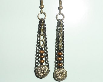 Chain and Glass Beaded Dangle Earrings