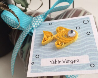 12Pk Quilling Personalized Gift Tags. Goldfish