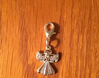 Angel zipper charm with key ring, Angel charm, Angel zipper charm, Angel key ring