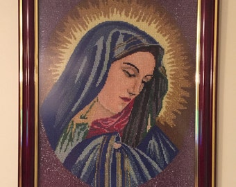 Virgin Mary Needlepoint with Glass Beads
